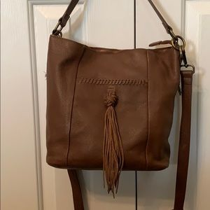Lucky Brand Leather Shoulder Bag w/Crossbody Strap